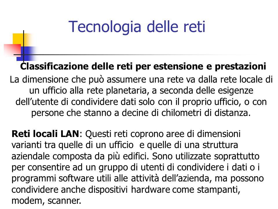 Tecnologia delle reti Classificazione delle reti per estensione e prestazioni.