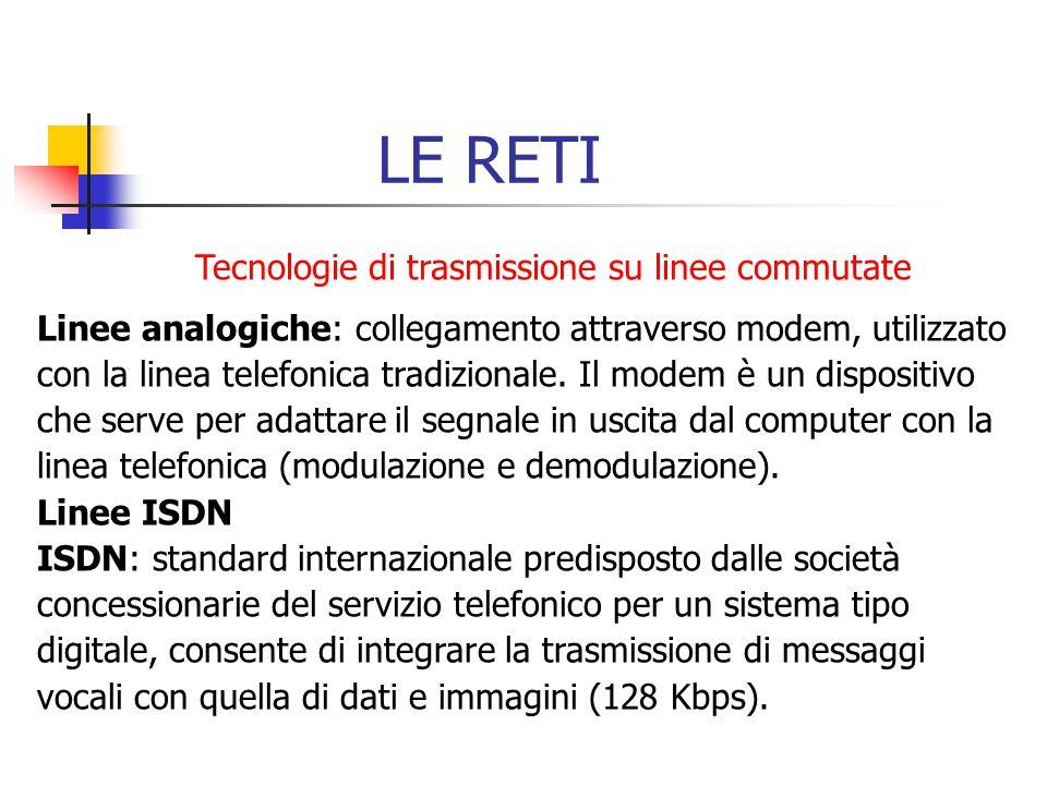 LE RETI Tecnologie di trasmissione su linee commutate