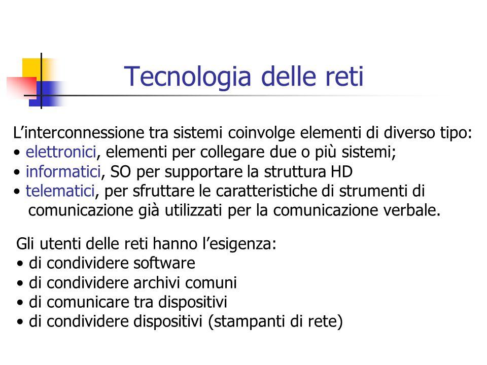 Tecnologia delle reti L'interconnessione tra sistemi coinvolge elementi di diverso tipo: elettronici, elementi per collegare due o più sistemi;