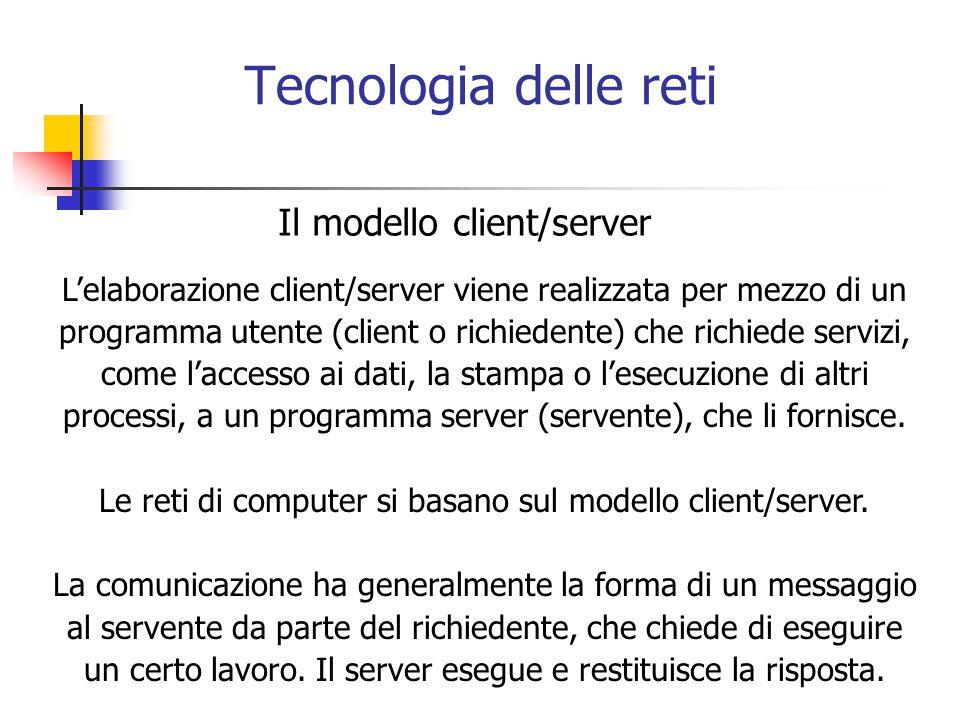 Le reti di computer si basano sul modello client/server.