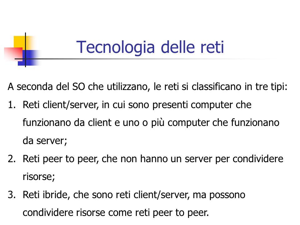Tecnologia delle reti A seconda del SO che utilizzano, le reti si classificano in tre tipi: