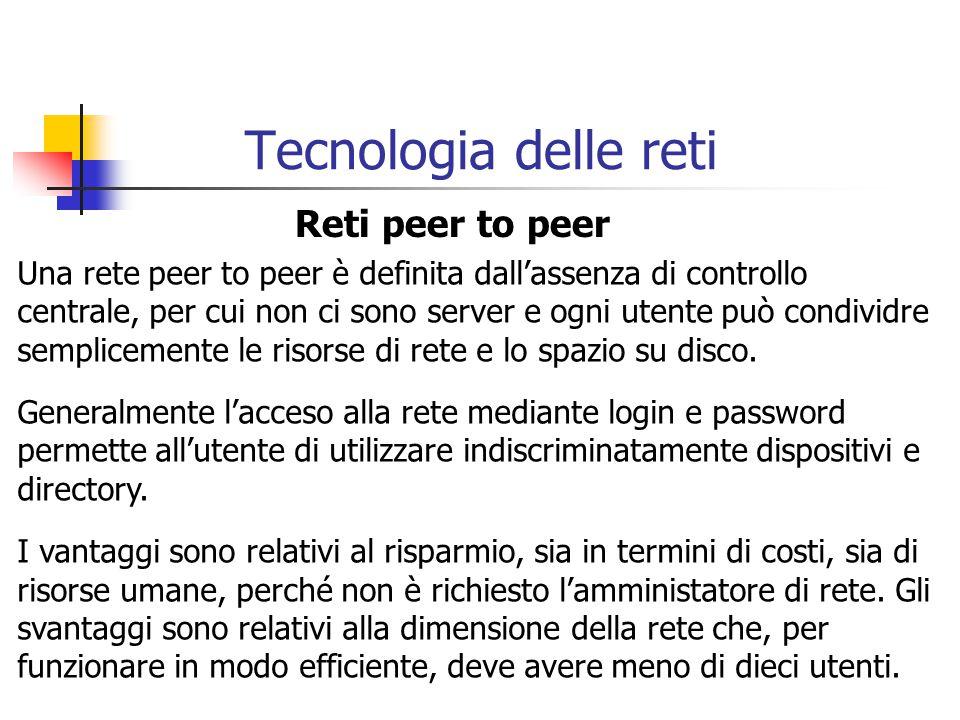 Tecnologia delle reti Reti peer to peer
