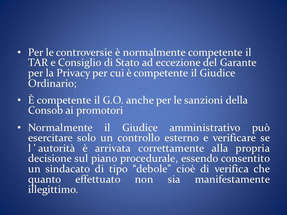 Per le controversie è normalmente competente il TAR e Consiglio di Stato ad eccezione del Garante per la Privacy per cui è competente il Giudice Ordinario;