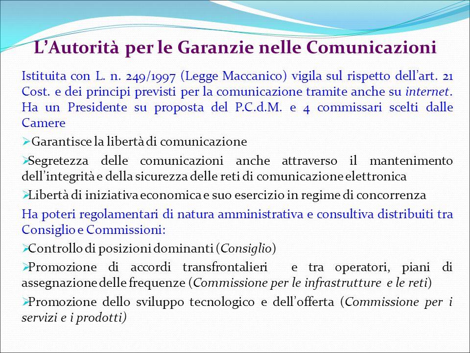 L'Autorità per le Garanzie nelle Comunicazioni