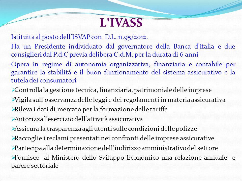 L'IVASS Istituita al posto dell'ISVAP con D.L. n.95/2012.