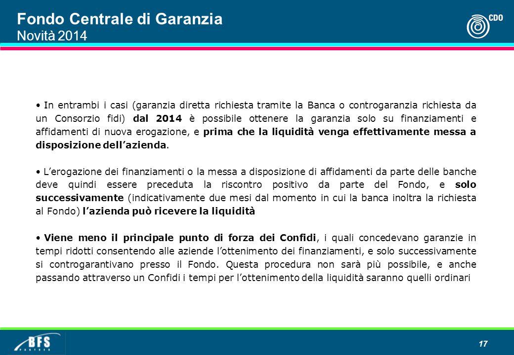 Fondo Centrale di Garanzia Novità 2014