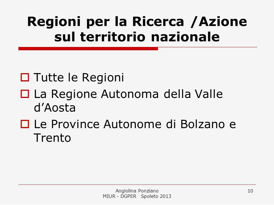 Regioni per la Ricerca /Azione sul territorio nazionale