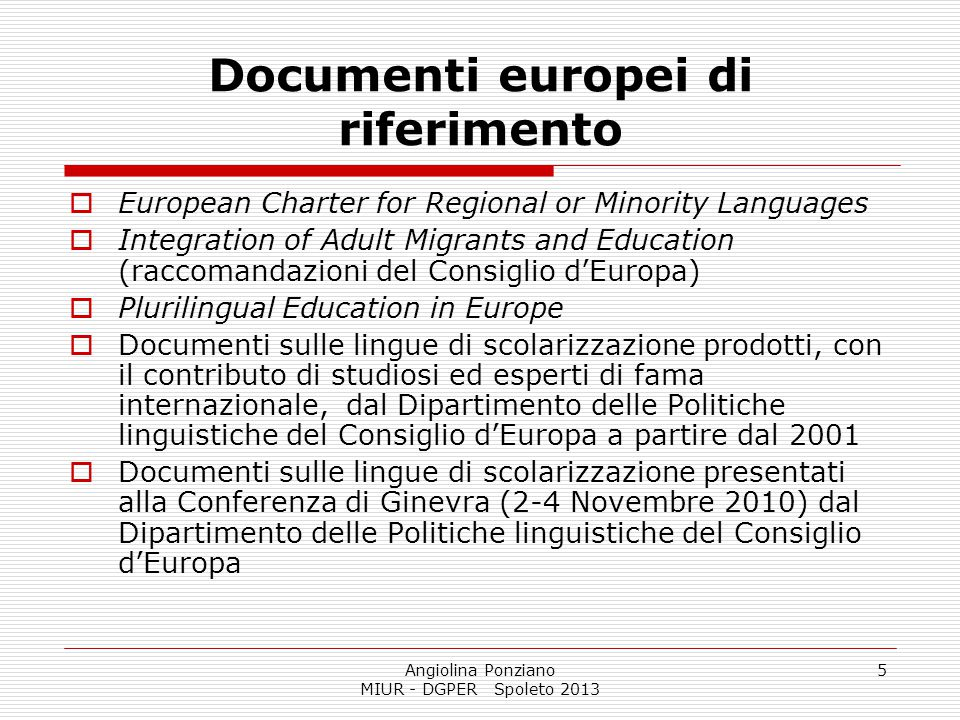Documenti europei di riferimento