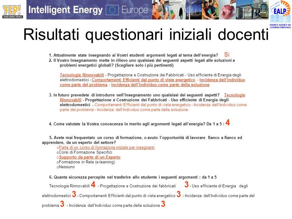 Risultati questionari iniziali docenti