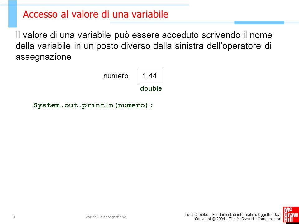 Accesso al valore di una variabile