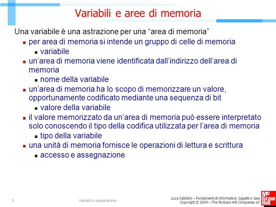 Variabili e aree di memoria