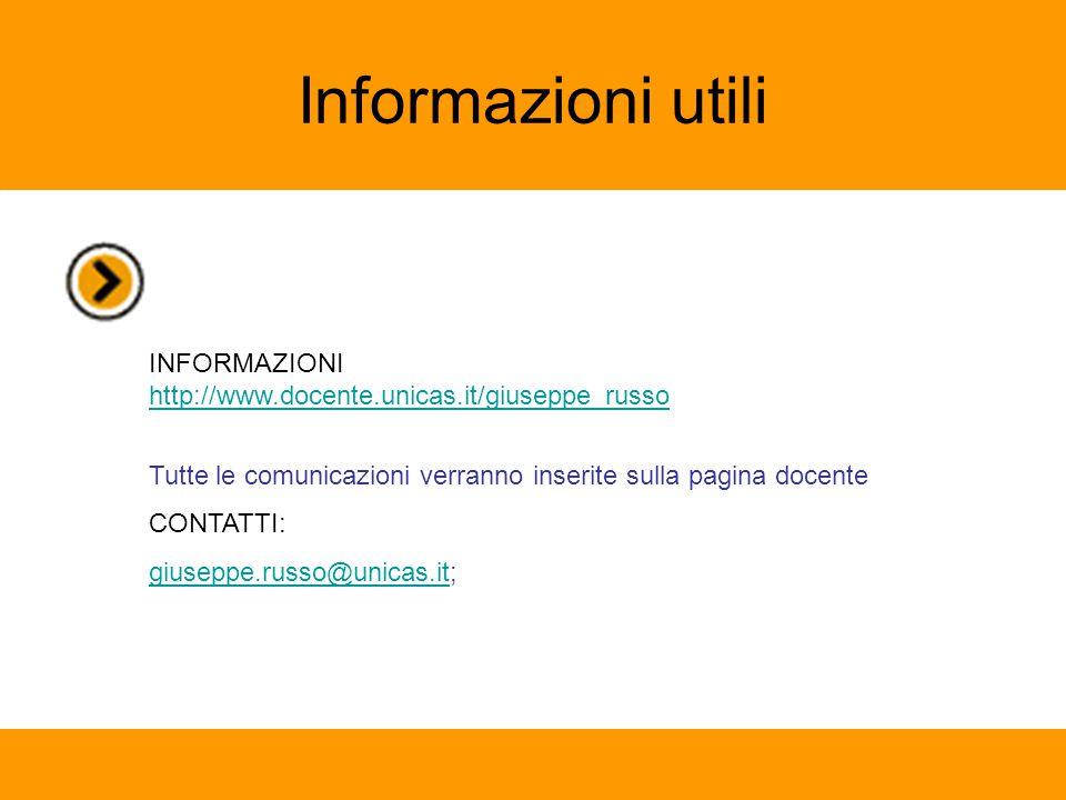 Informazioni utili INFORMAZIONI