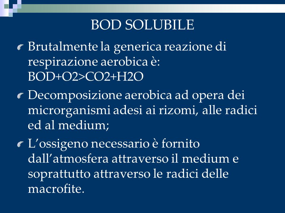 BOD SOLUBILE Brutalmente la generica reazione di respirazione aerobica è: BOD+O2>CO2+H2O.