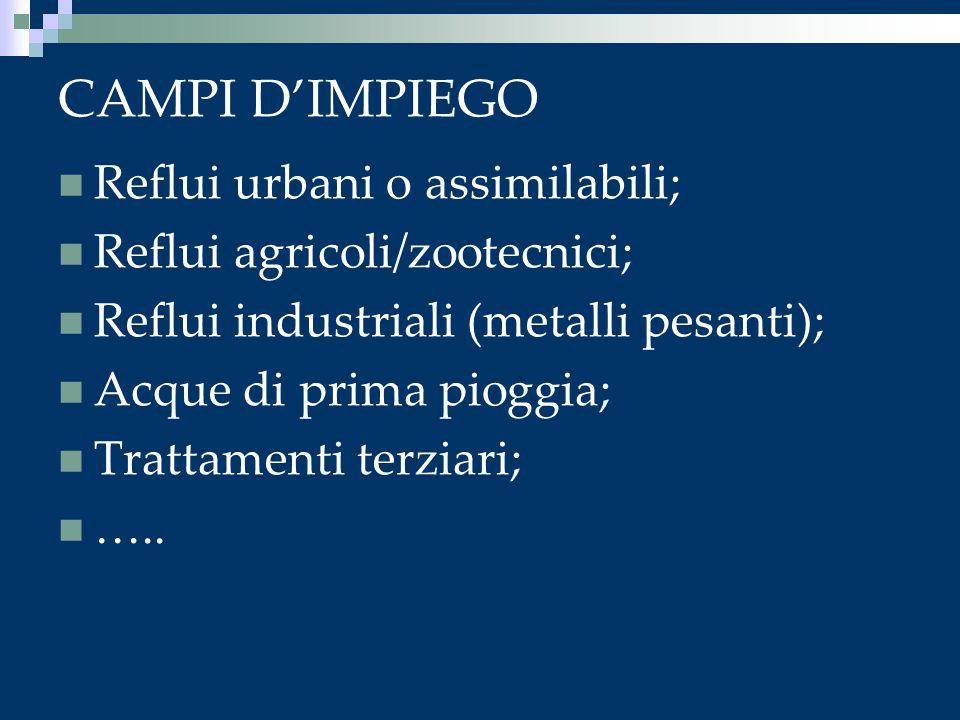 CAMPI D'IMPIEGO Reflui urbani o assimilabili;
