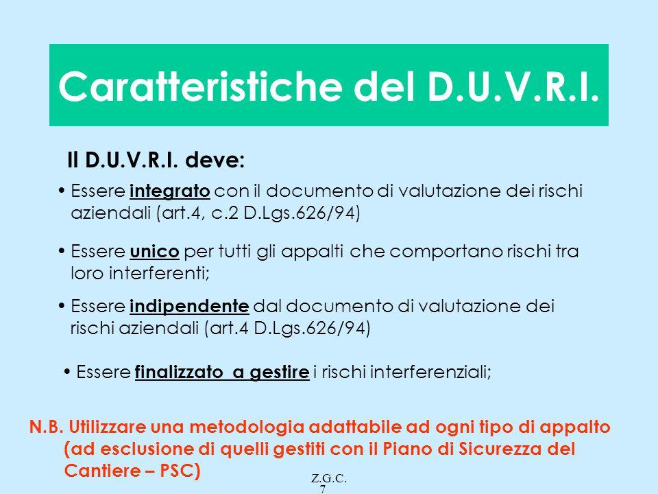 Caratteristiche del D.U.V.R.I.