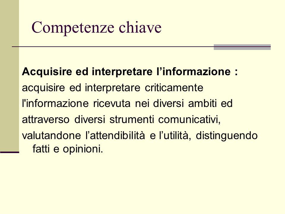 Competenze chiave Acquisire ed interpretare l'informazione :