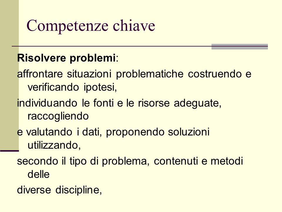 Competenze chiave Risolvere problemi: