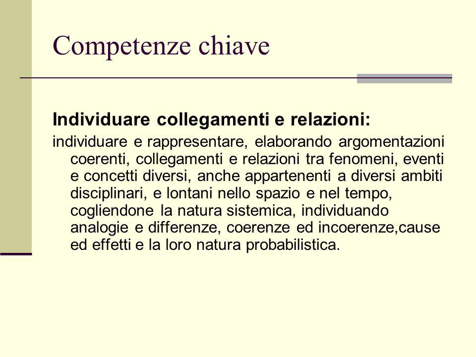 Competenze chiave Individuare collegamenti e relazioni: