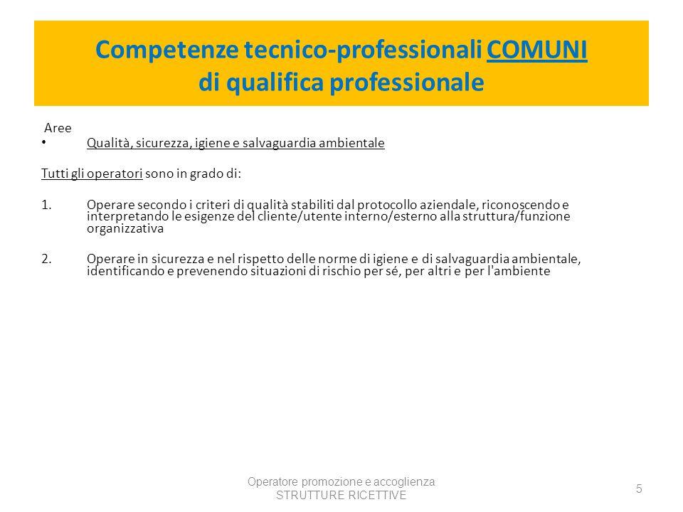 Competenze tecnico-professionali COMUNI di qualifica professionale
