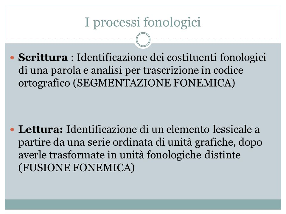 I processi fonologici