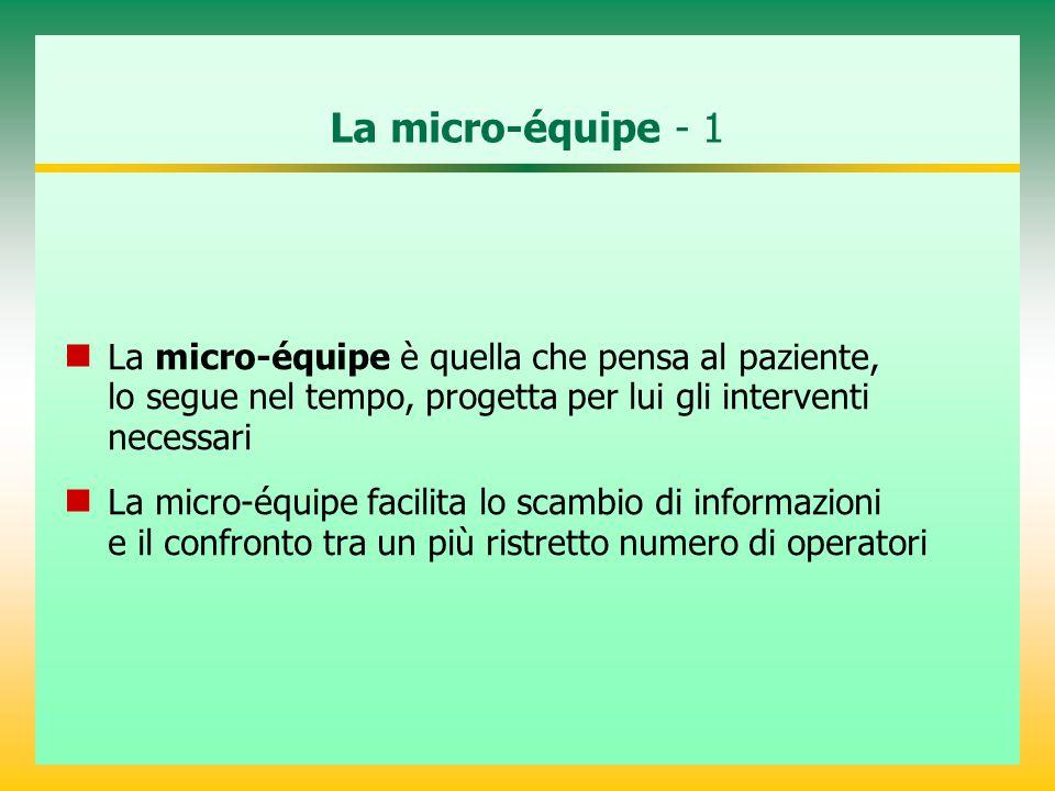 La micro-équipe - 1 La micro-équipe è quella che pensa al paziente, lo segue nel tempo, progetta per lui gli interventi necessari.