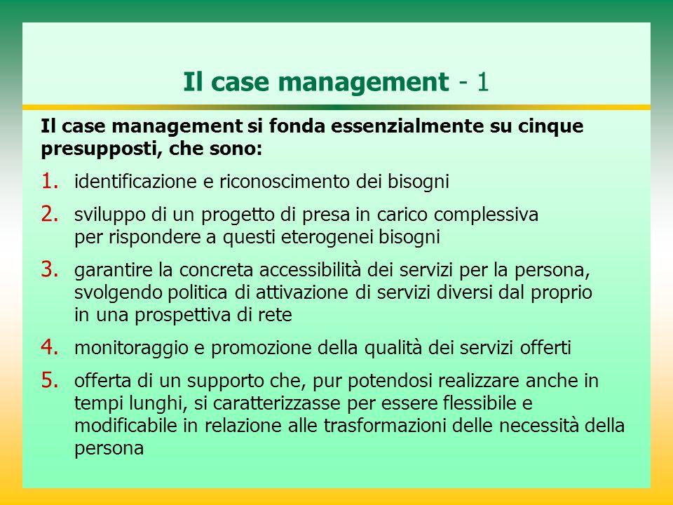 Il case management - 1 Il case management si fonda essenzialmente su cinque. presupposti, che sono: