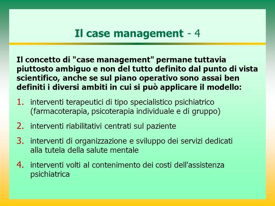 Il case management - 4 Il concetto di case management permane tuttavia. piuttosto ambiguo e non del tutto definito dal punto di vista.