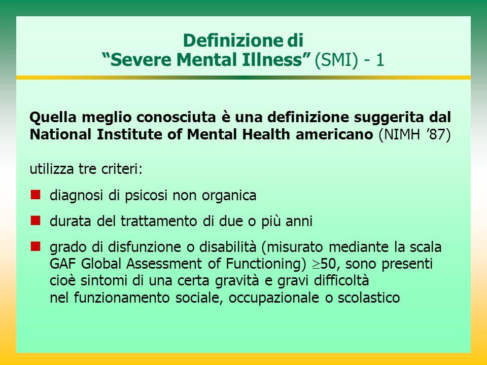 Definizione di Severe Mental Illness (SMI) - 1