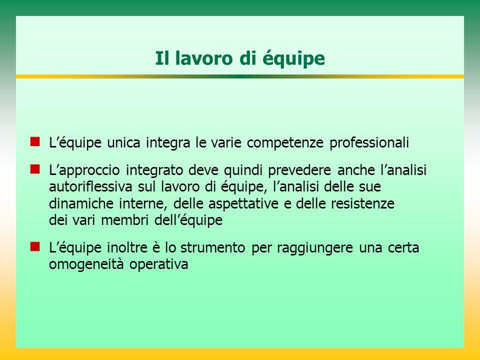 Il lavoro di équipe L'équipe unica integra le varie competenze professionali.