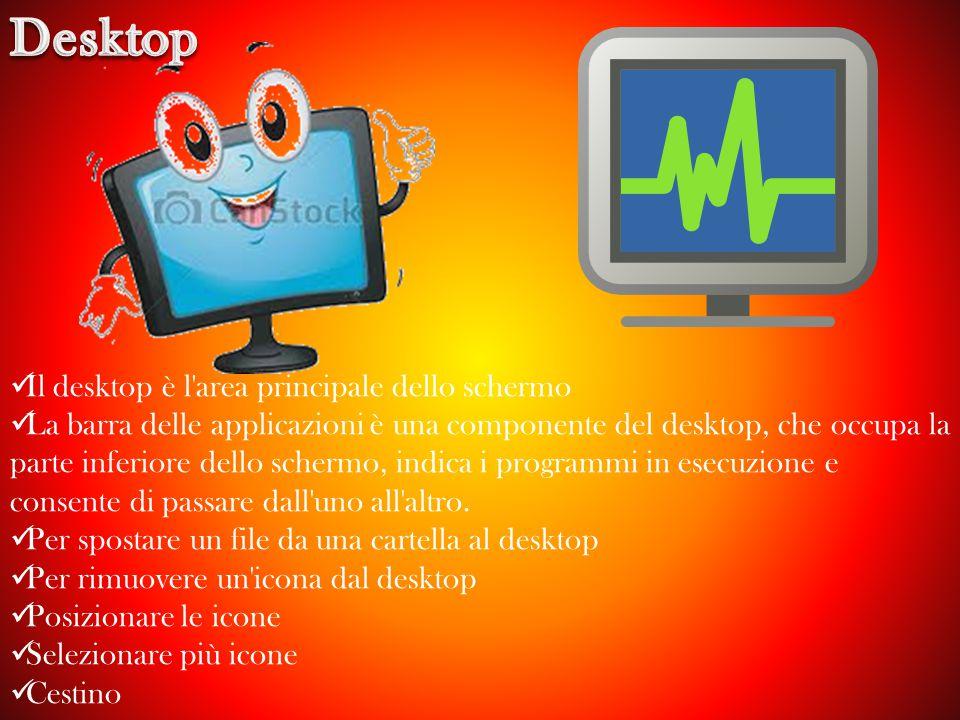 Desktop Il desktop è l area principale dello schermo