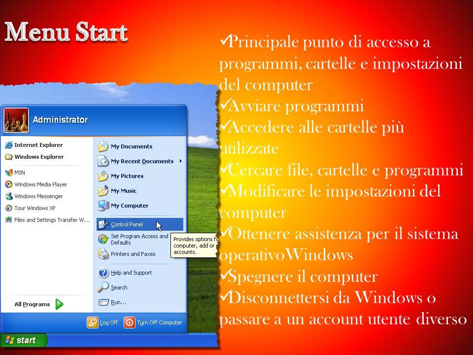 Menu Start Principale punto di accesso a programmi, cartelle e impostazioni del computer. Avviare programmi.