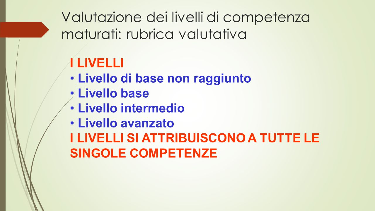 Valutazione dei livelli di competenza maturati: rubrica valutativa