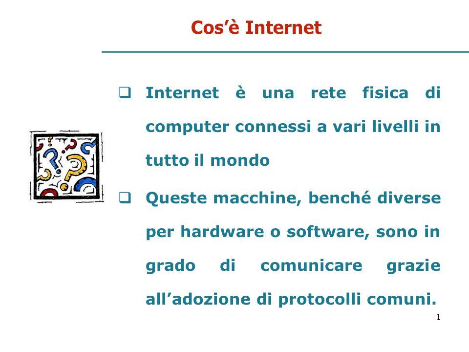 Cos'è Internet Internet è una rete fisica di computer connessi a vari livelli in tutto il mondo.