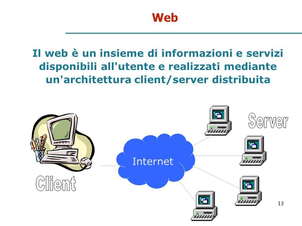 Web Il web è un insieme di informazioni e servizi disponibili all utente e realizzati mediante un architettura client/server distribuita.