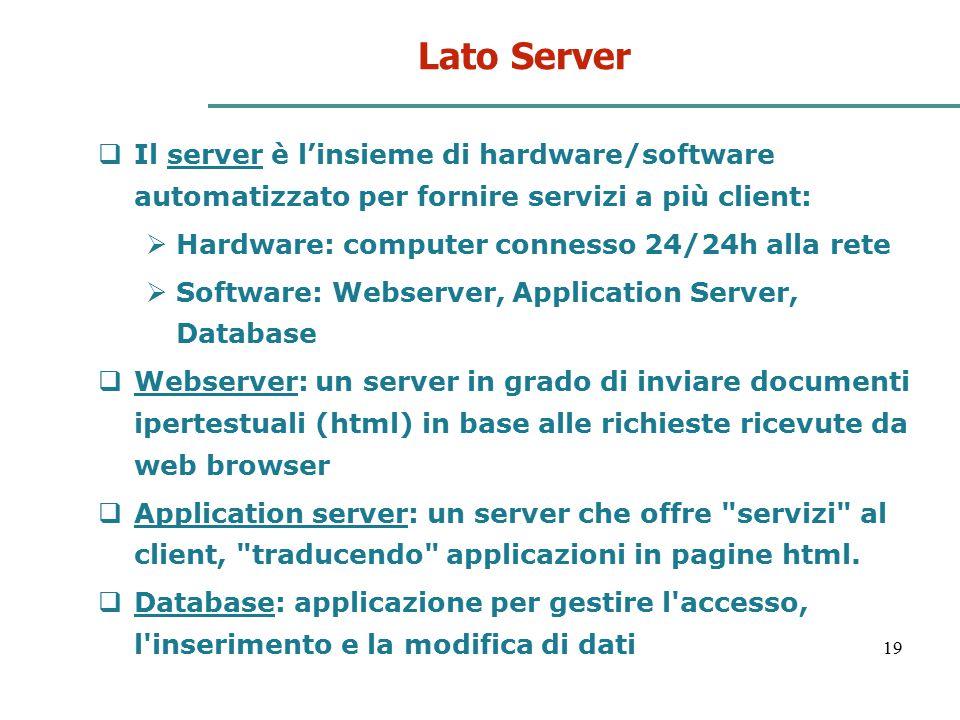 Lato Server Il server è l'insieme di hardware/software automatizzato per fornire servizi a più client: