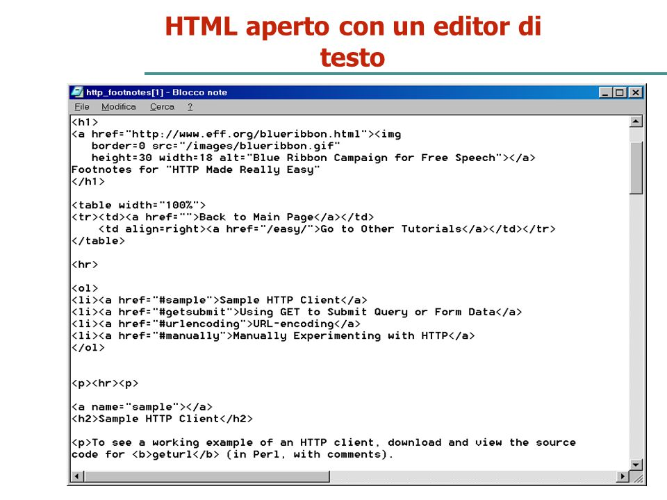 HTML aperto con un editor di testo