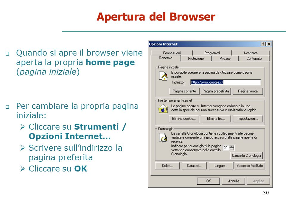 Apertura del Browser Quando si apre il browser viene aperta la propria home page (pagina iniziale) Per cambiare la propria pagina iniziale: