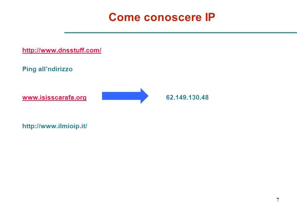 Come conoscere IP http://www.dnsstuff.com/ Ping all'ndirizzo www.isisscarafa.org 62.149.130.48 http://www.ilmioip.it/