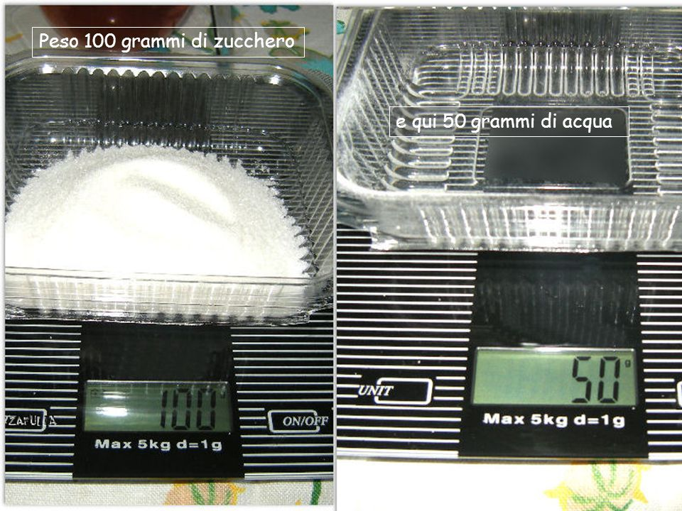 Peso 100 grammi di zucchero