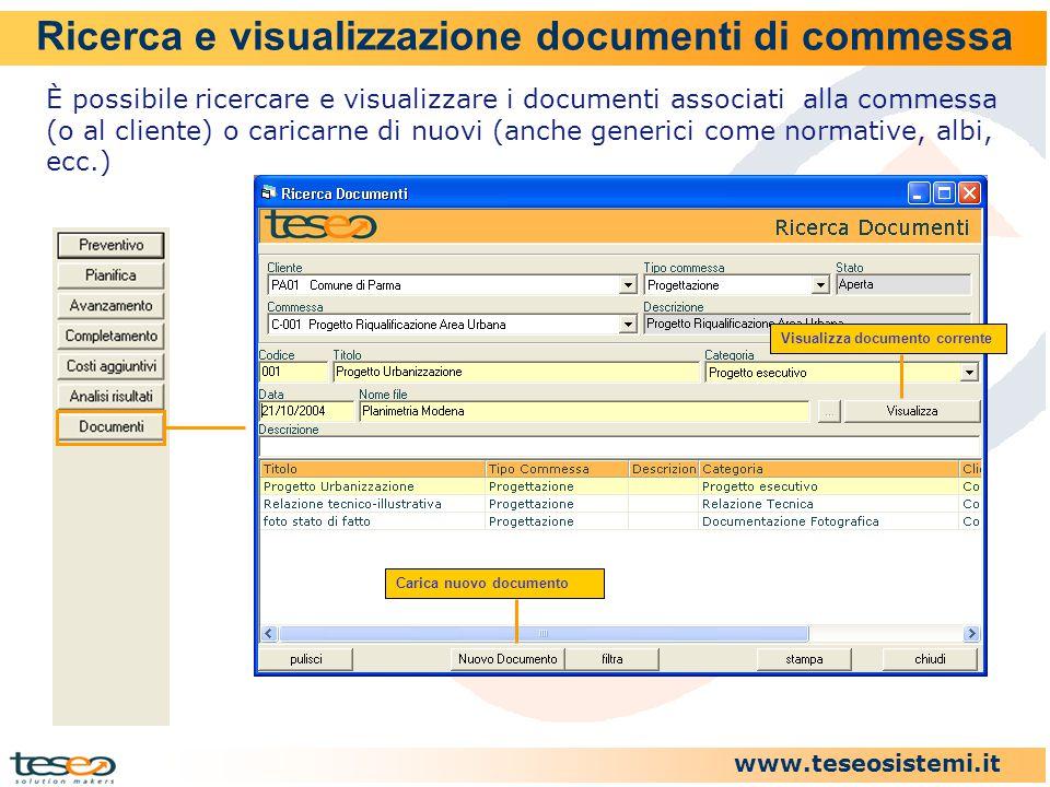 Ricerca e visualizzazione documenti di commessa