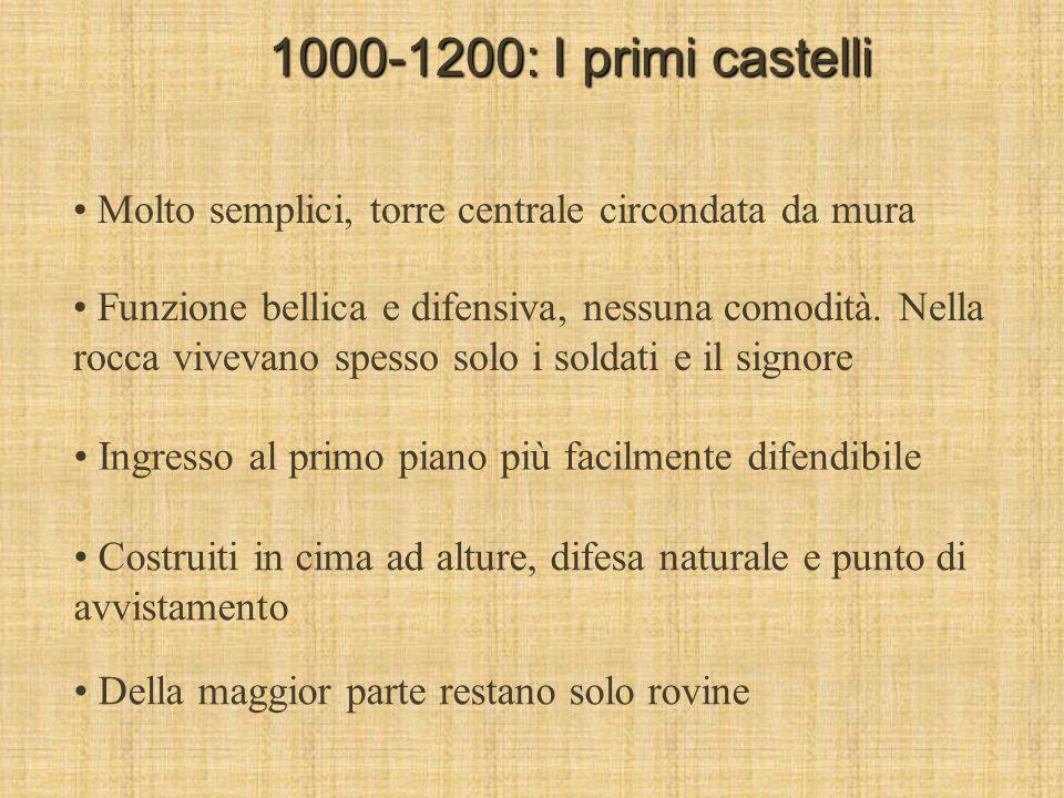 1000-1200: I primi castelli Molto semplici, torre centrale circondata da mura.