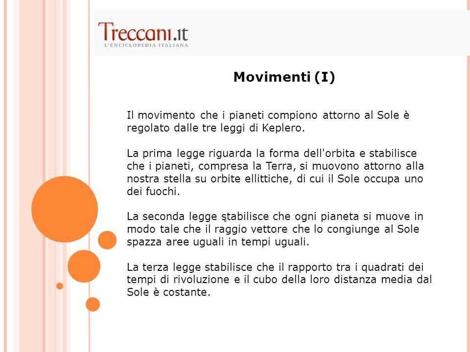 Movimenti (I) Il movimento che i pianeti compiono attorno al Sole è regolato dalle tre leggi di Keplero.