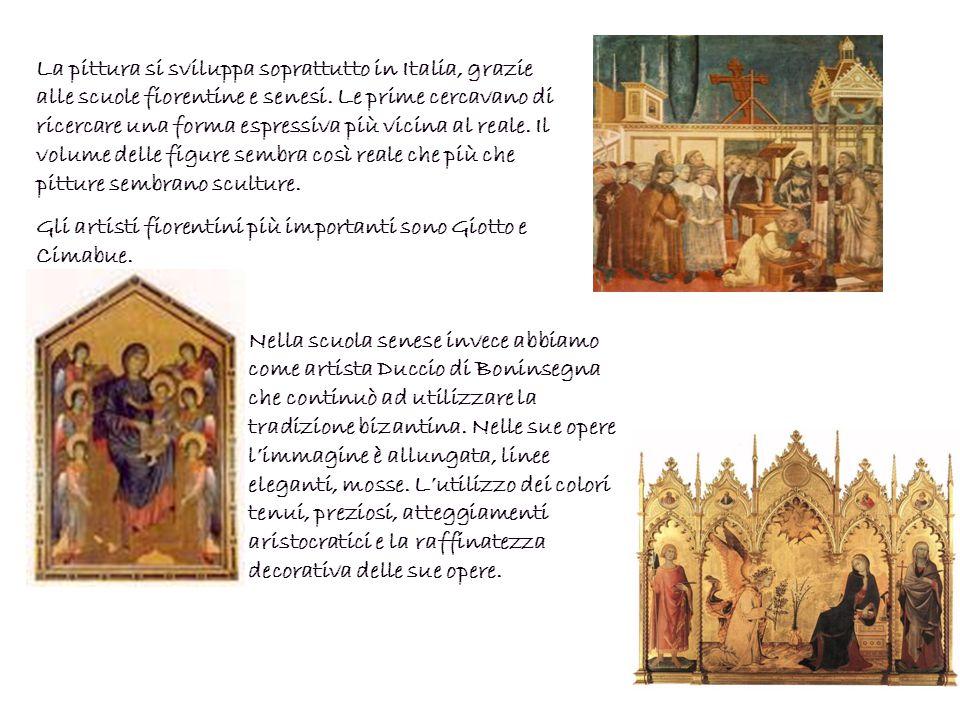 La pittura si sviluppa soprattutto in Italia, grazie alle scuole fiorentine e senesi. Le prime cercavano di ricercare una forma espressiva più vicina al reale. Il volume delle figure sembra così reale che più che pitture sembrano sculture.