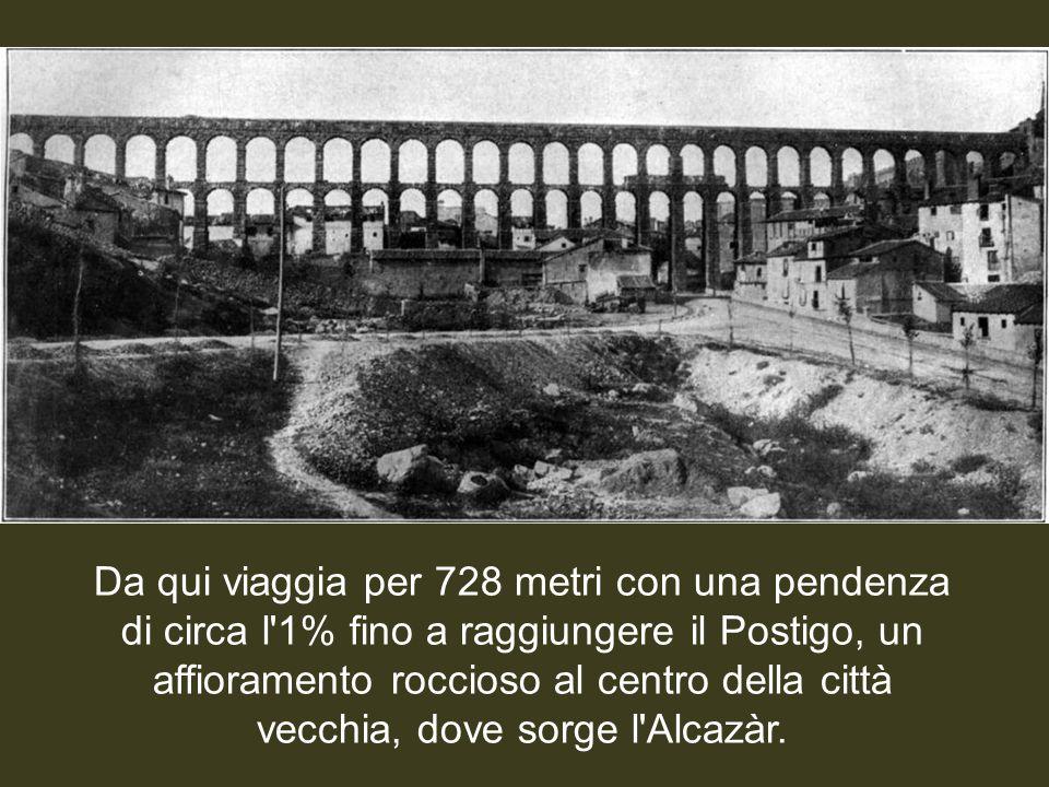 Da qui viaggia per 728 metri con una pendenza di circa l 1% fino a raggiungere il Postigo, un affioramento roccioso al centro della città vecchia, dove sorge l Alcazàr.