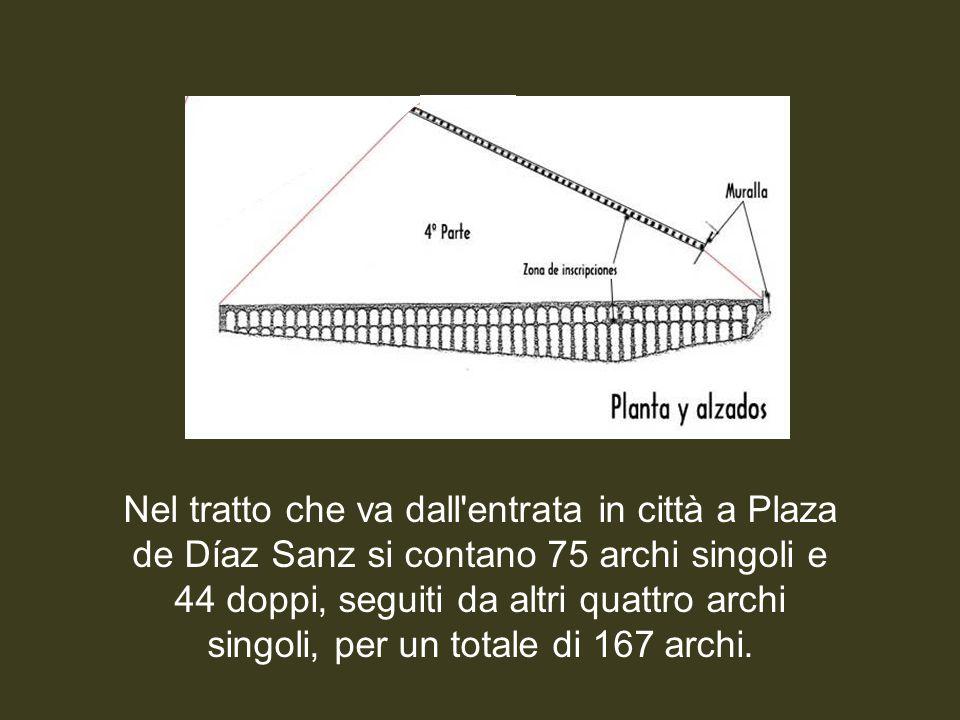 Nel tratto che va dall entrata in città a Plaza de Díaz Sanz si contano 75 archi singoli e 44 doppi, seguiti da altri quattro archi singoli, per un totale di 167 archi.