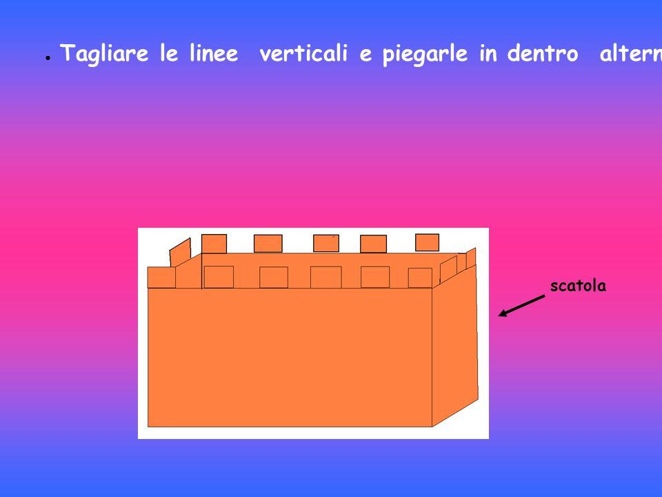 Tagliare le linee verticali e piegarle in dentro alternando e così si formano i merli del castello.