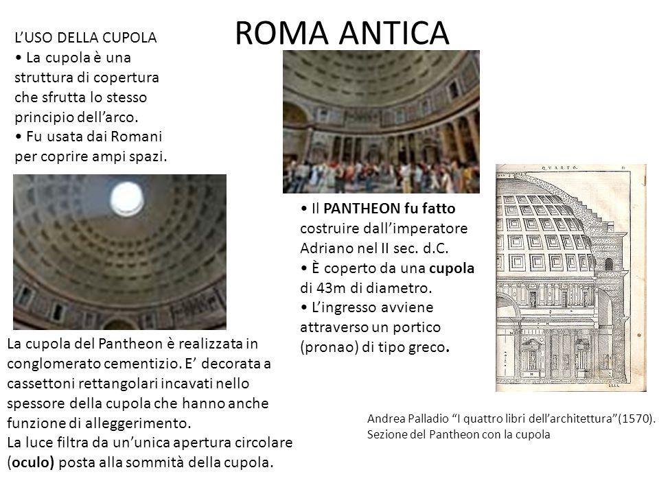 ROMA ANTICA L'USO DELLA CUPOLA • La cupola è una
