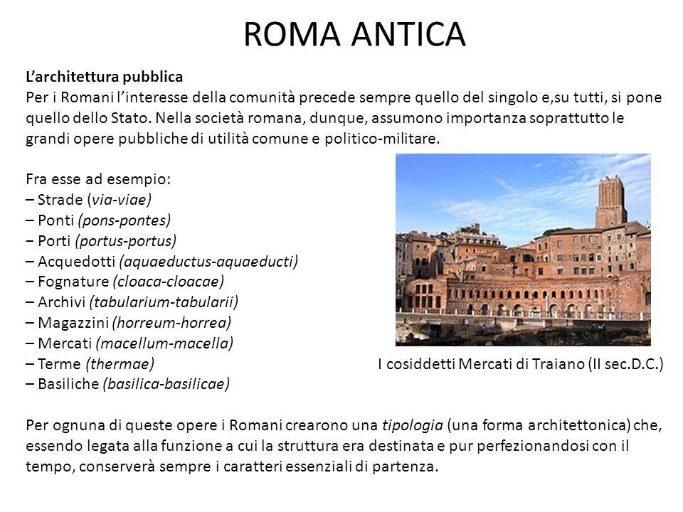 ROMA ANTICA L'architettura pubblica