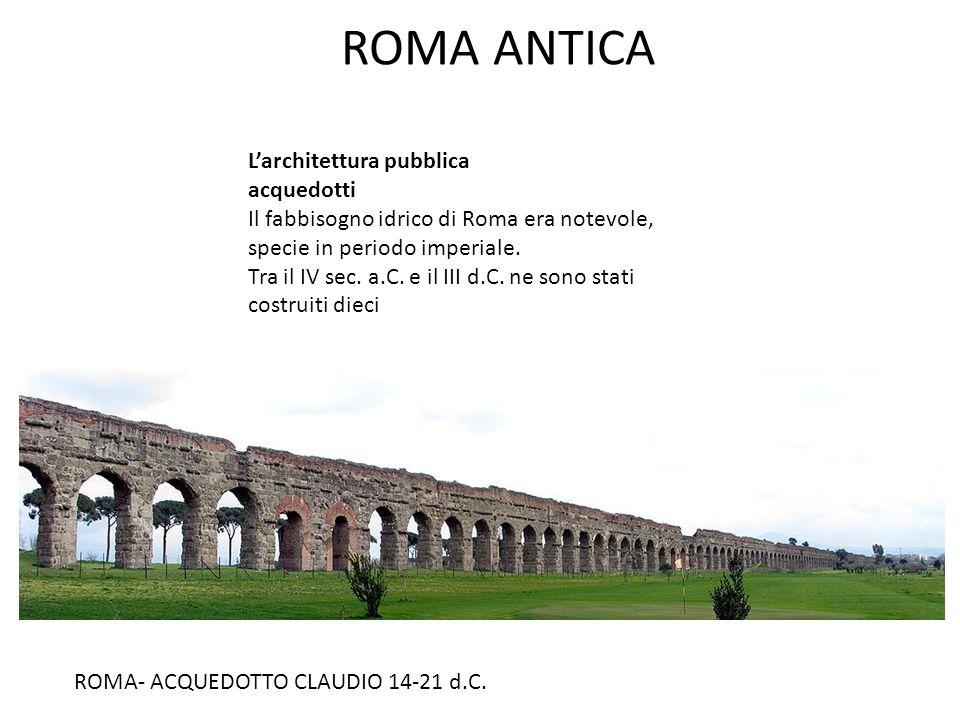 ROMA ANTICA L'architettura pubblica acquedotti