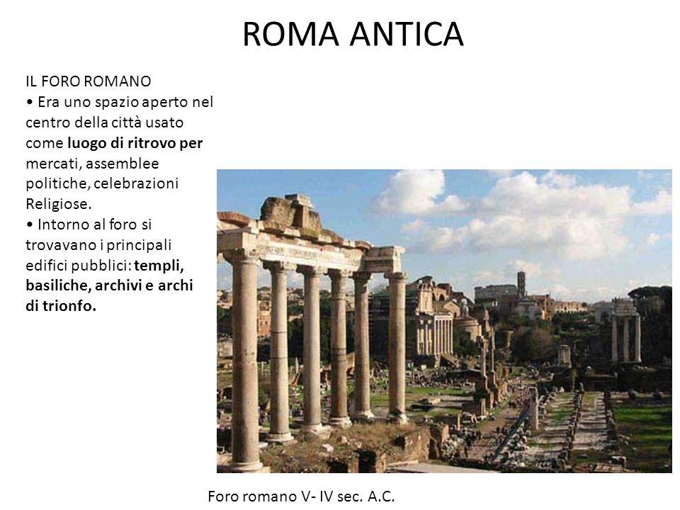 ROMA ANTICA IL FORO ROMANO • Era uno spazio aperto nel